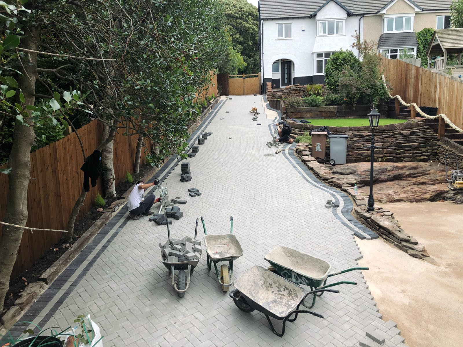 G D Quality paving laying a block driveway on The Wirral near Liverpool.